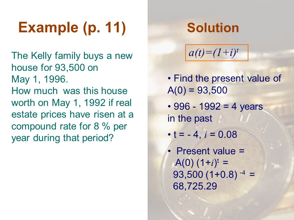Example (p. 11) Solution a(t)=(1+i)t