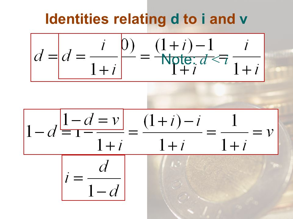 Identities relating d to i and v