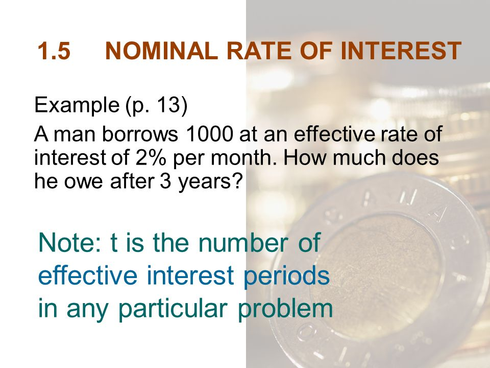 1.5 NOMINAL RATE OF INTEREST