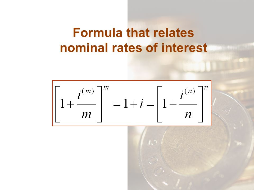 Formula that relates nominal rates of interest