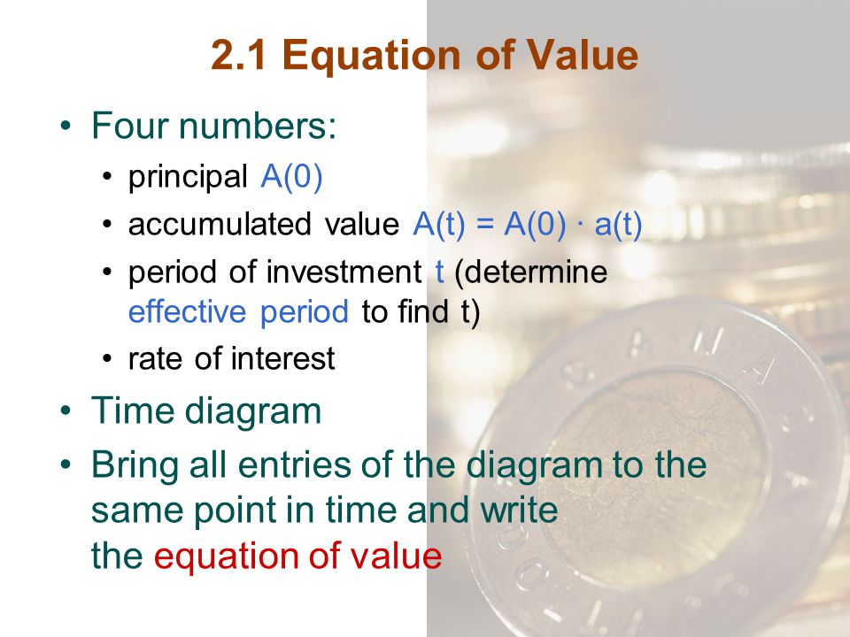 2.1 Equation of Value Four numbers: Time diagram