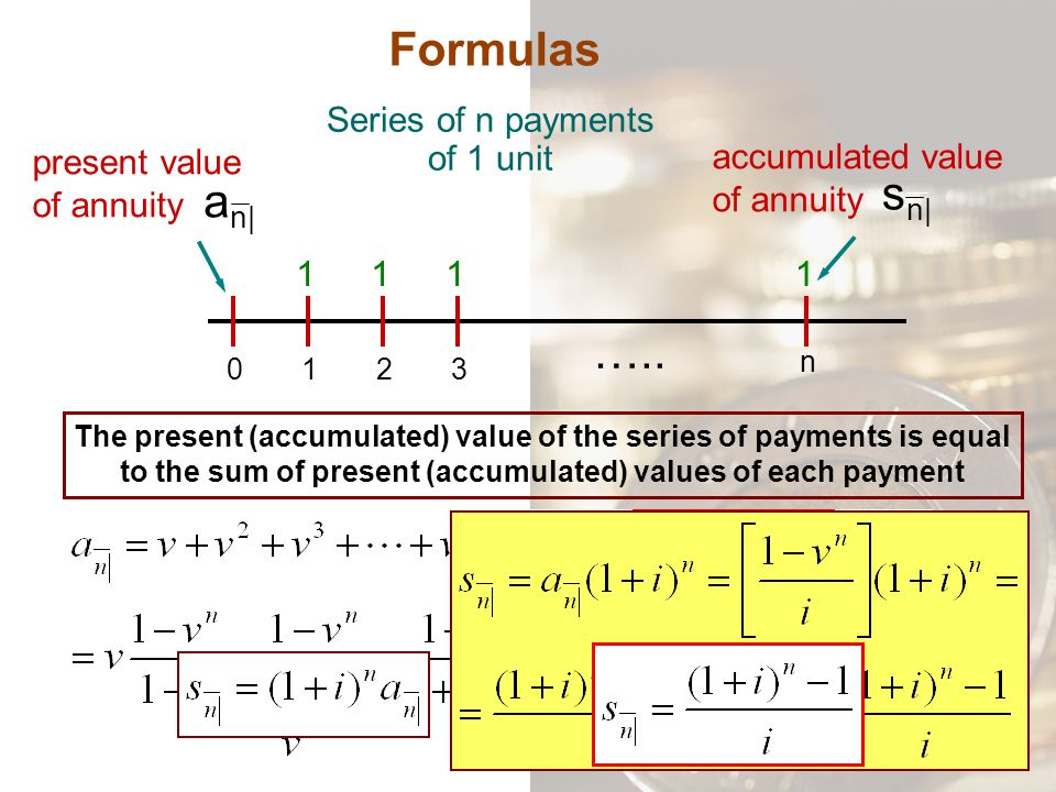 Series of n payments of 1 unit