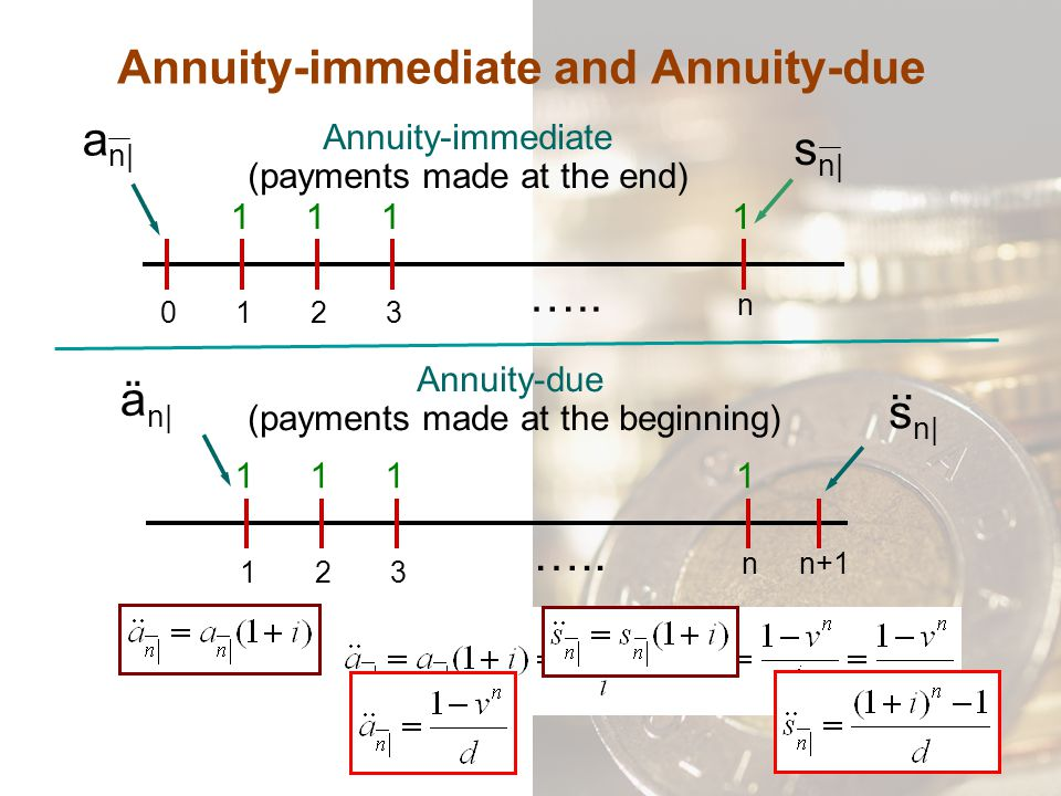 Annuity-immediate and Annuity-due
