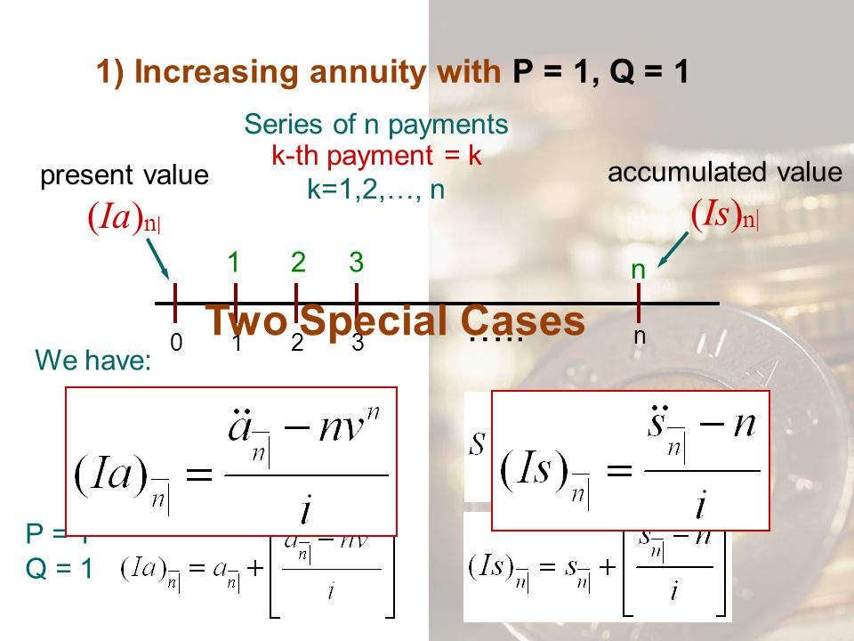 1) Increasing annuity with P = 1, Q = 1