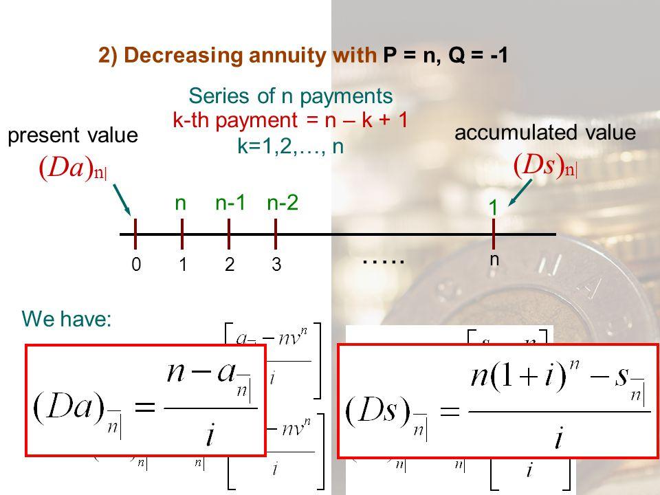 2) Decreasing annuity with P = n, Q = -1