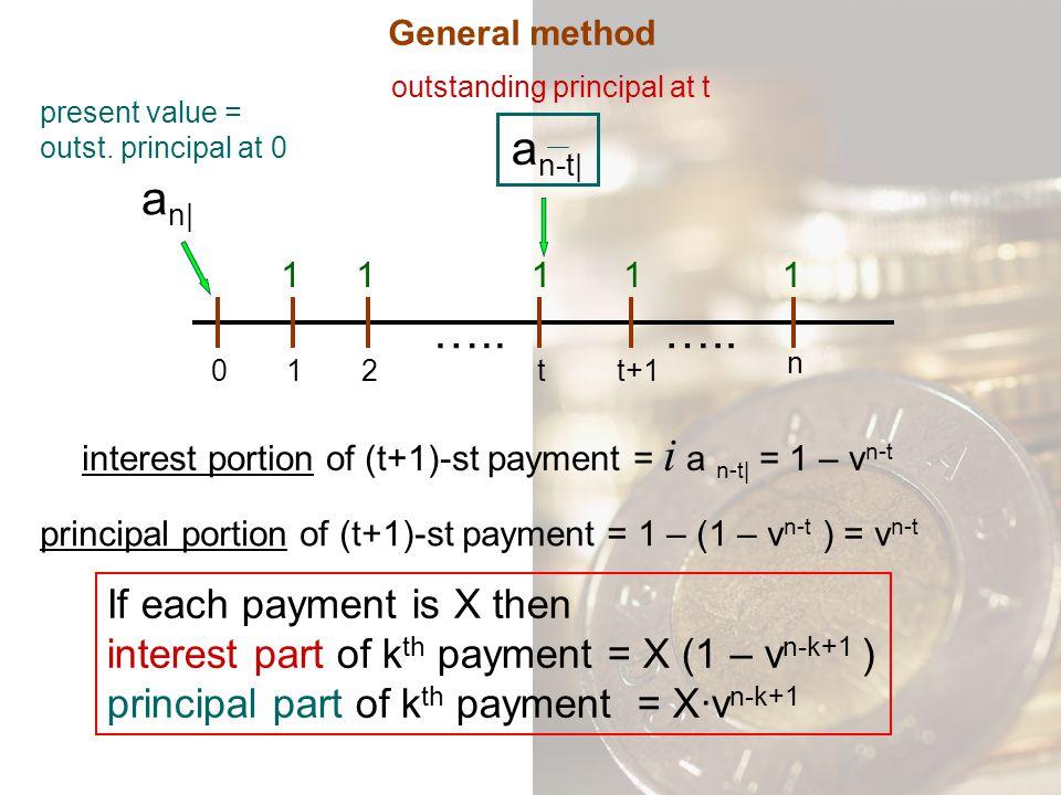 an-t| an| ….. ….. If each payment is X then