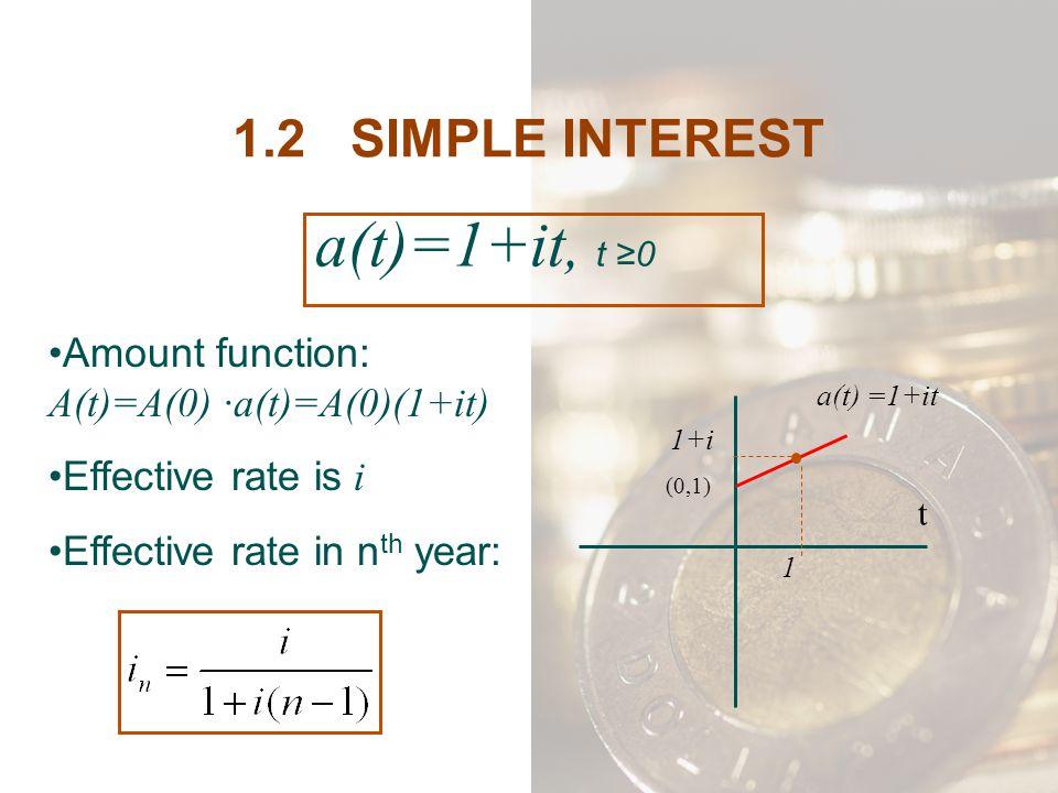 a(t)=1+it, t ≥0 1.2 SIMPLE INTEREST