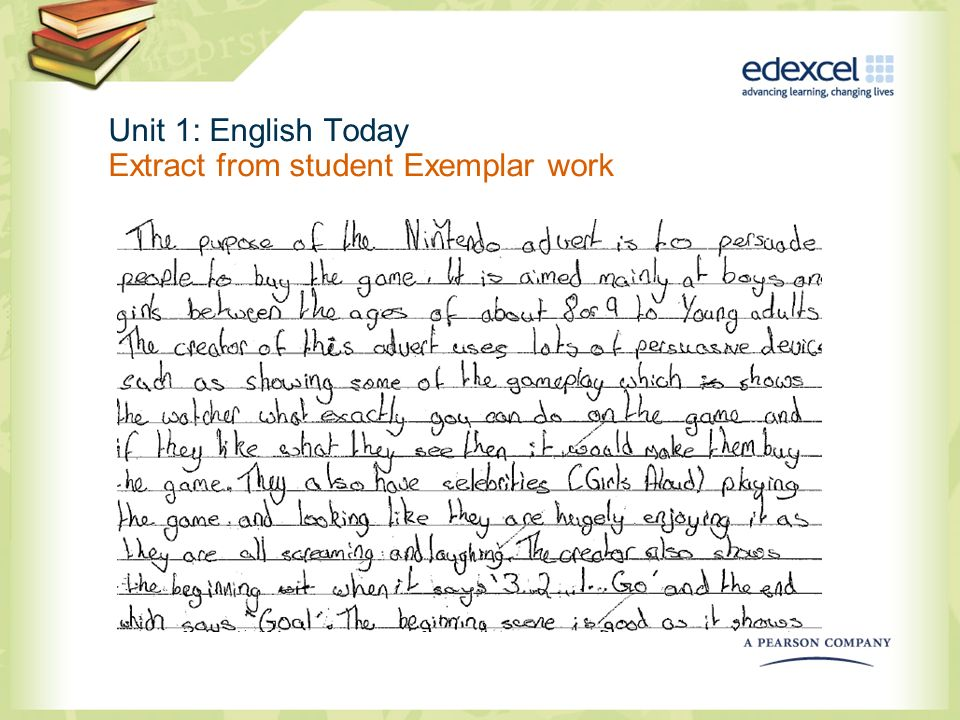 Unit 1: English Today Extract from student Exemplar work