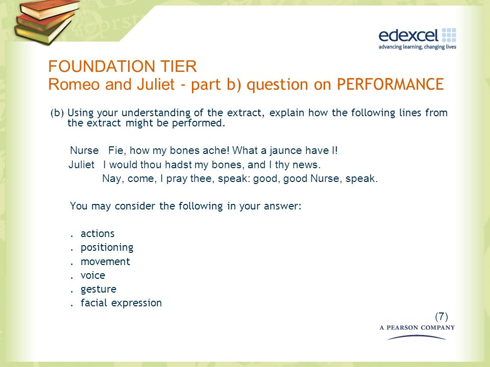 FOUNDATION TIER Romeo and Juliet - part b) question on PERFORMANCE