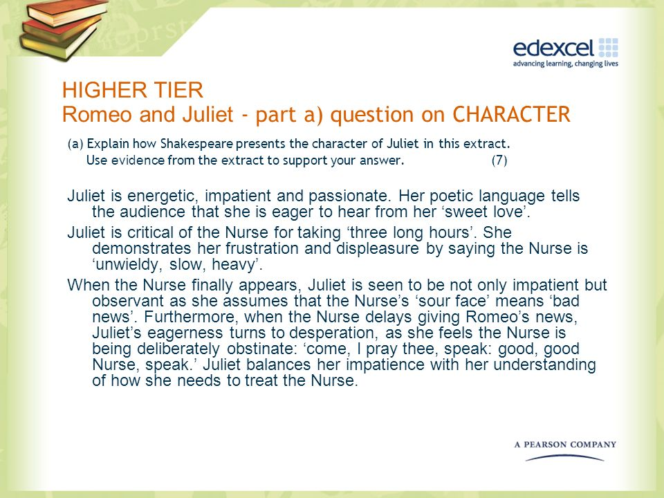 HIGHER TIER Romeo and Juliet - part a) question on CHARACTER