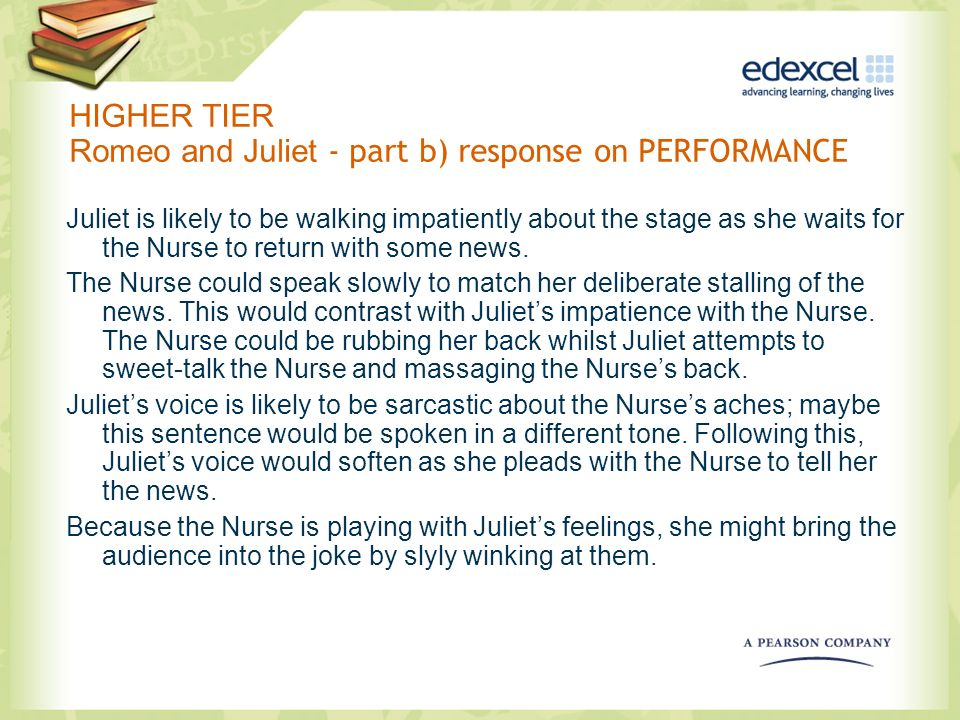 HIGHER TIER Romeo and Juliet - part b) response on PERFORMANCE
