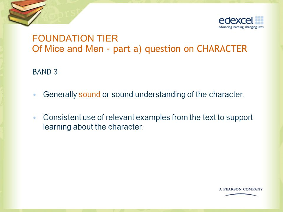 FOUNDATION TIER Of Mice and Men - part a) question on CHARACTER