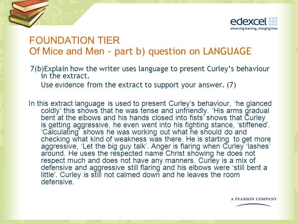 FOUNDATION TIER Of Mice and Men - part b) question on LANGUAGE