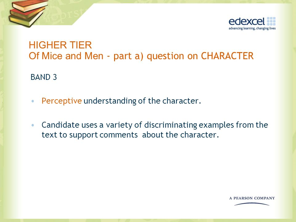 HIGHER TIER Of Mice and Men - part a) question on CHARACTER