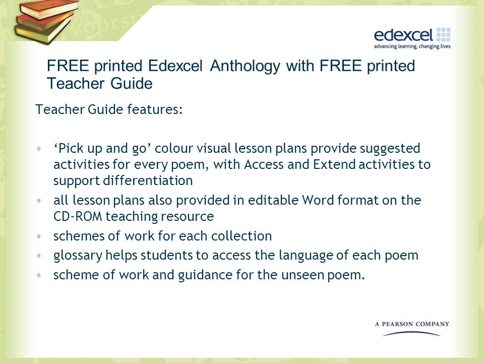 FREE printed Edexcel Anthology with FREE printed Teacher Guide