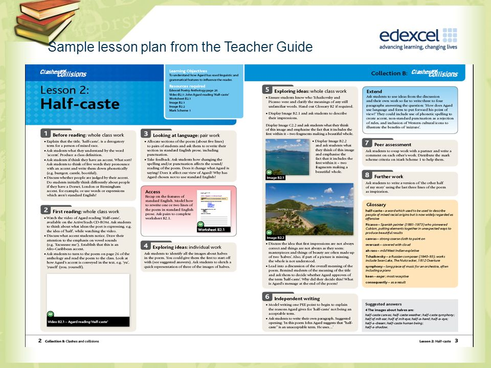 Sample lesson plan from the Teacher Guide
