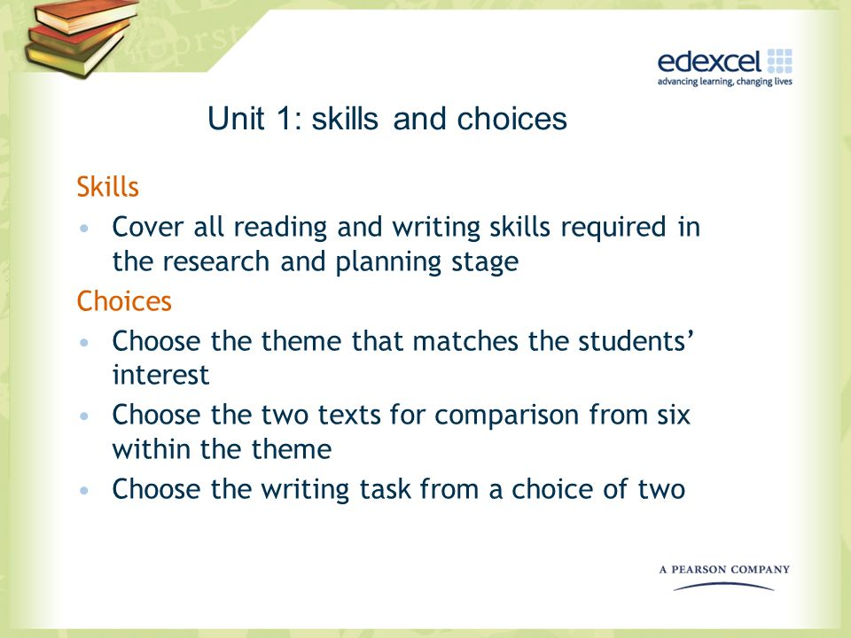 Unit 1: skills and choices