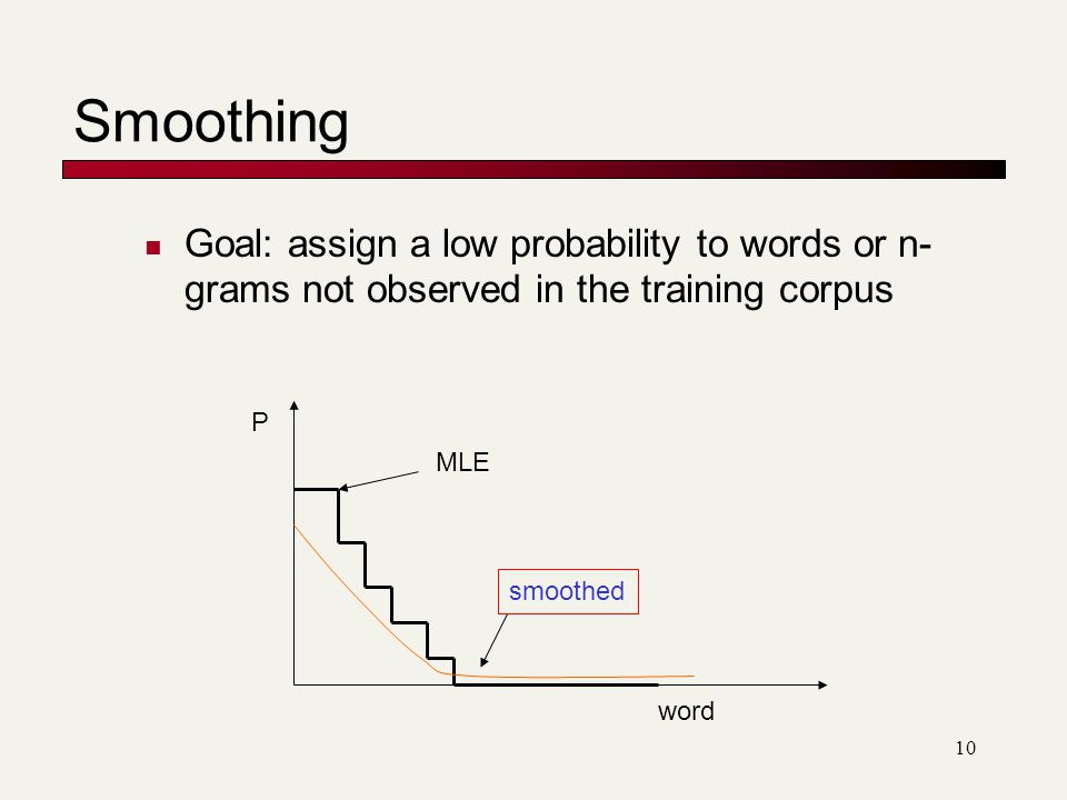 Smoothing Goal: assign a low probability to words or n-grams not observed in the training corpus. P.