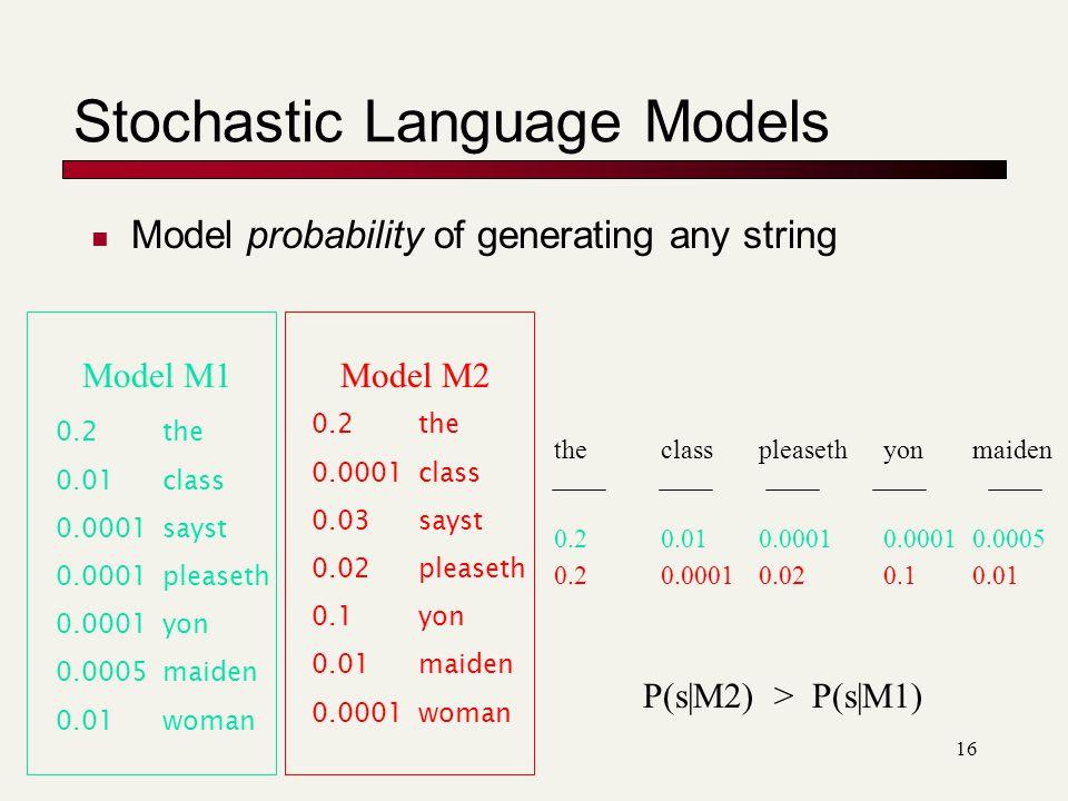 Stochastic Language Models