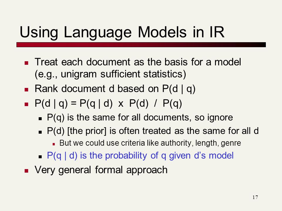 Using Language Models in IR