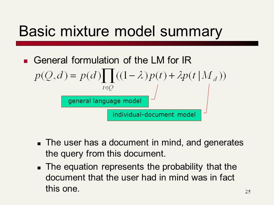 Basic mixture model summary