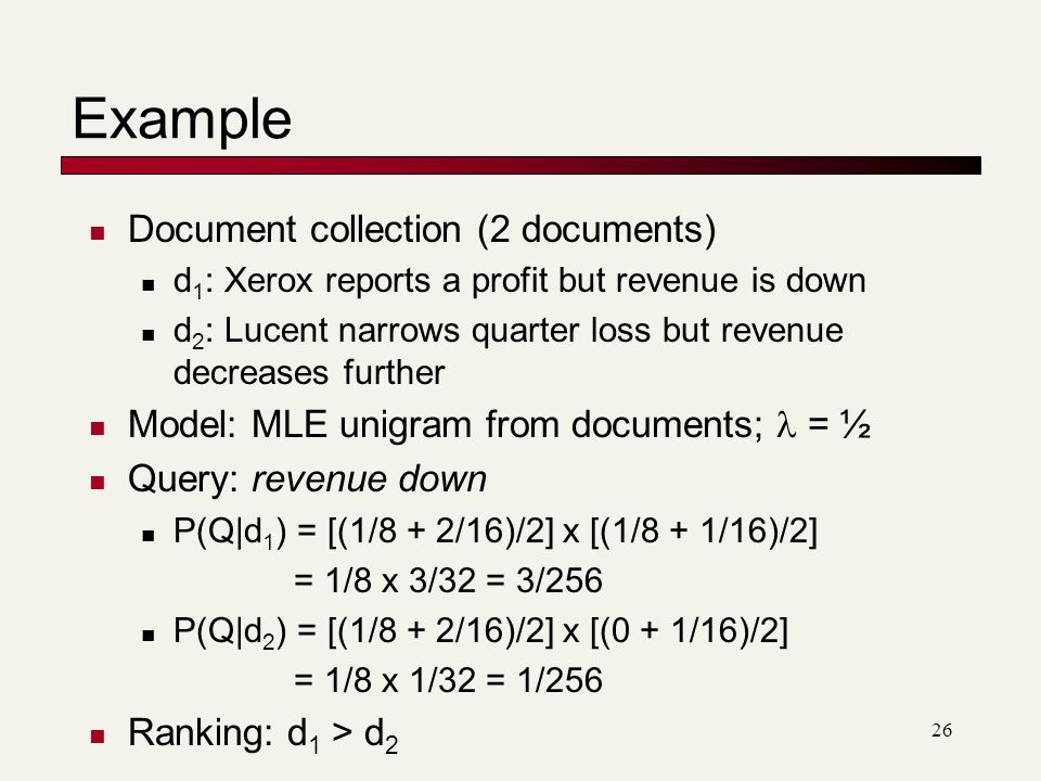Example Document collection (2 documents)