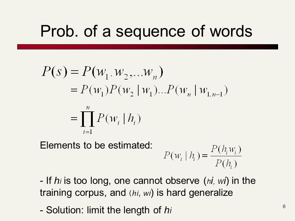 Prob. of a sequence of words