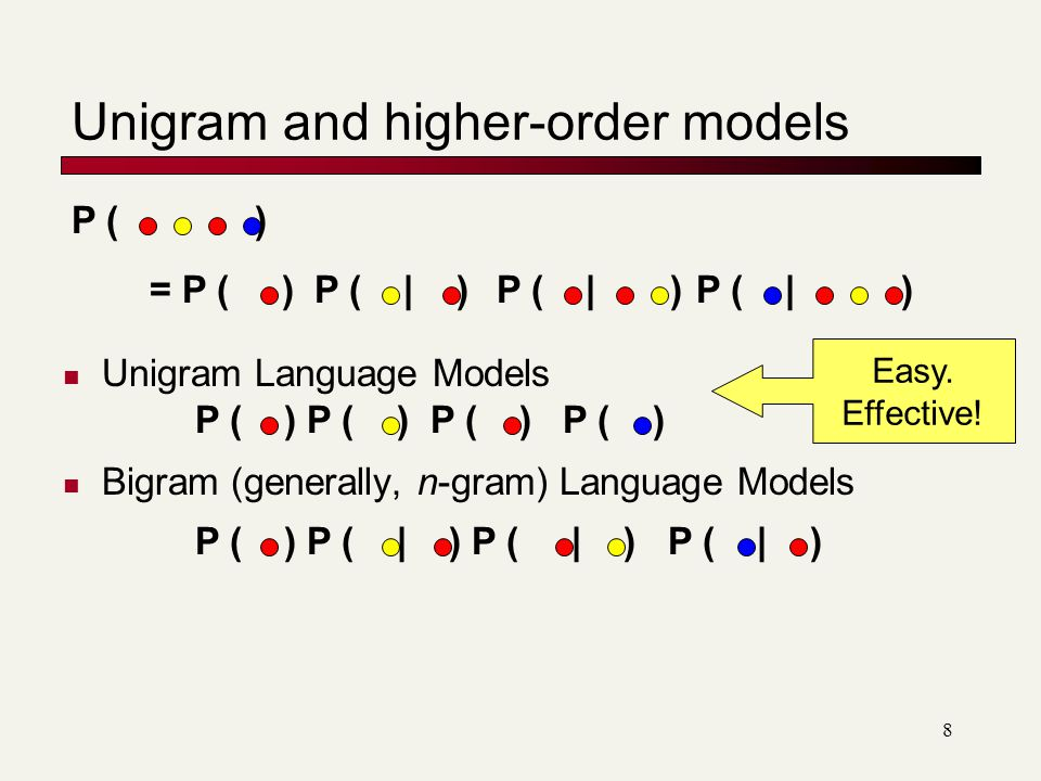 Unigram and higher-order models