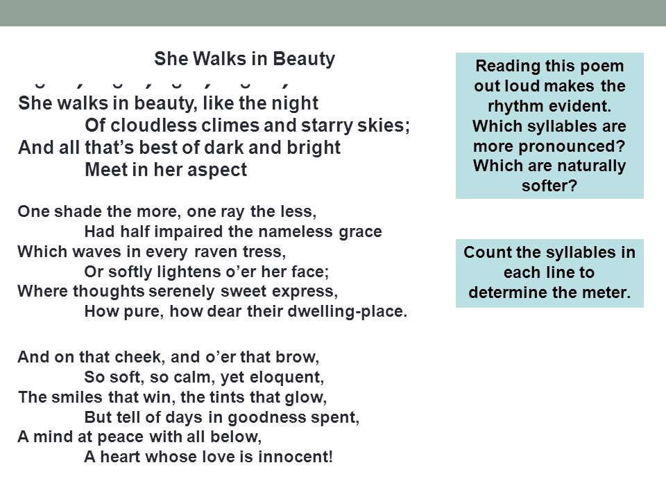 an analysis of the perfect womans beauty in the poem she walks in beauty by byron Poems, readings, poetry news and the entire 100-year archive of poetry magazine.