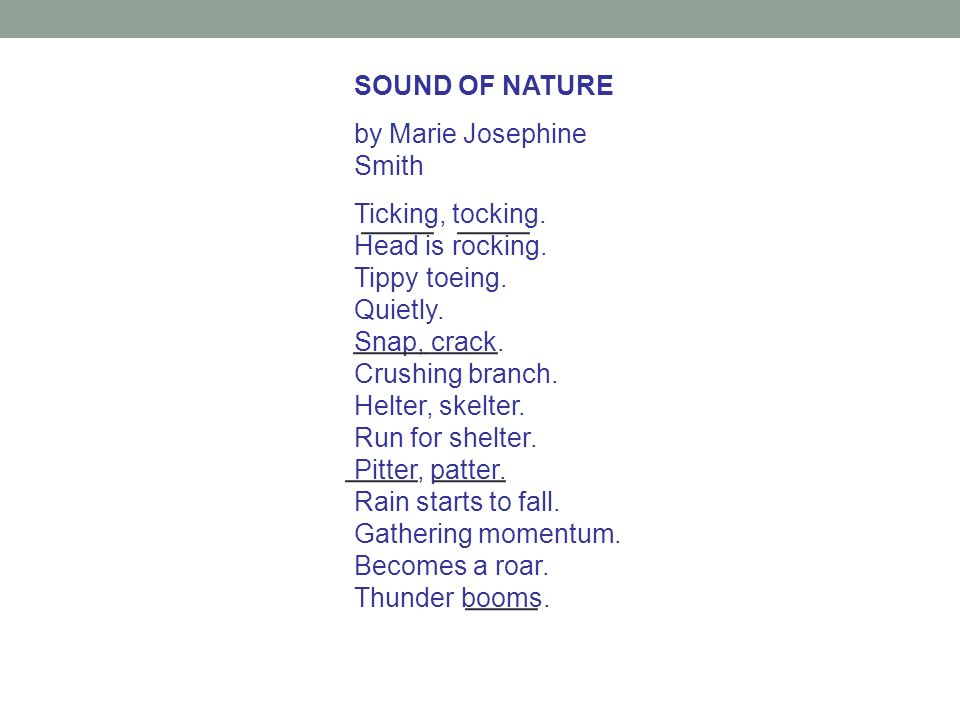 ____ ____ ____ ____ ____ ____ ____ SOUND OF NATURE
