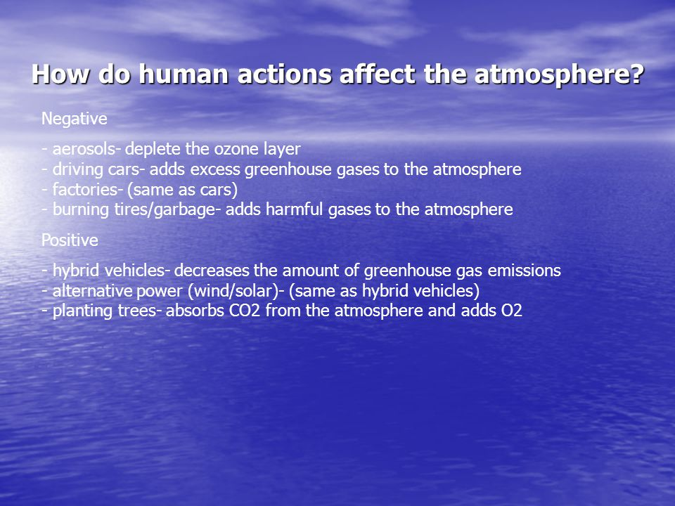 How do human actions affect the atmosphere