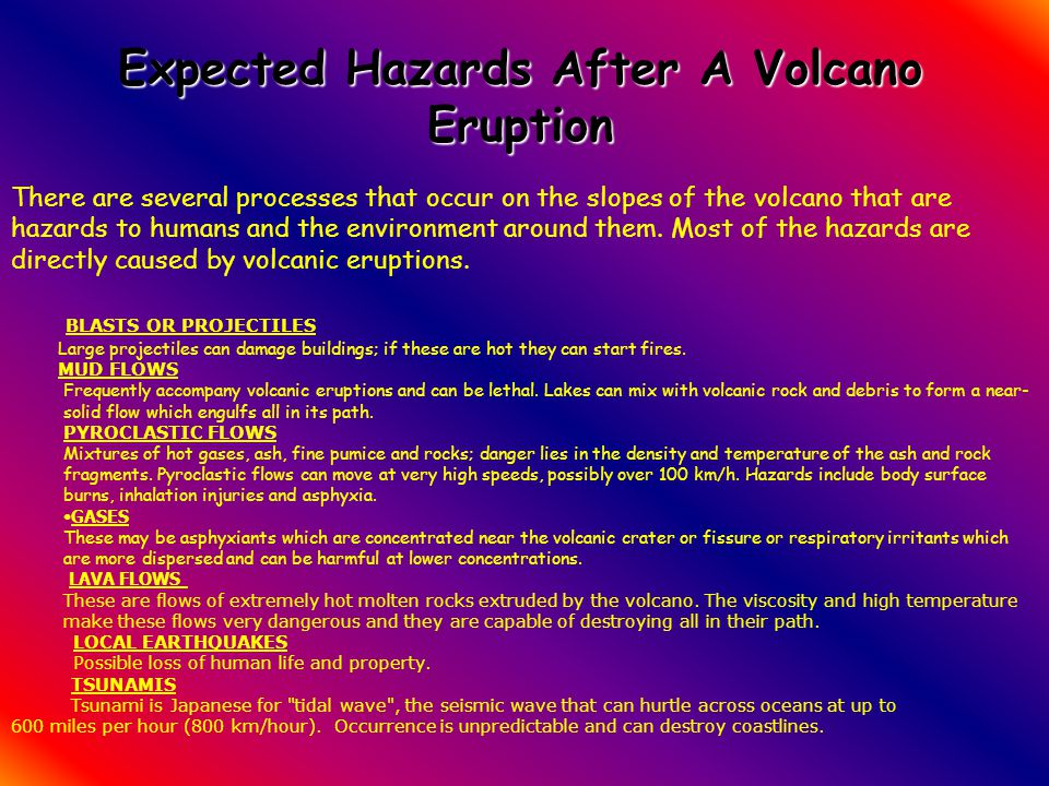 Expected Hazards After A Volcano Eruption