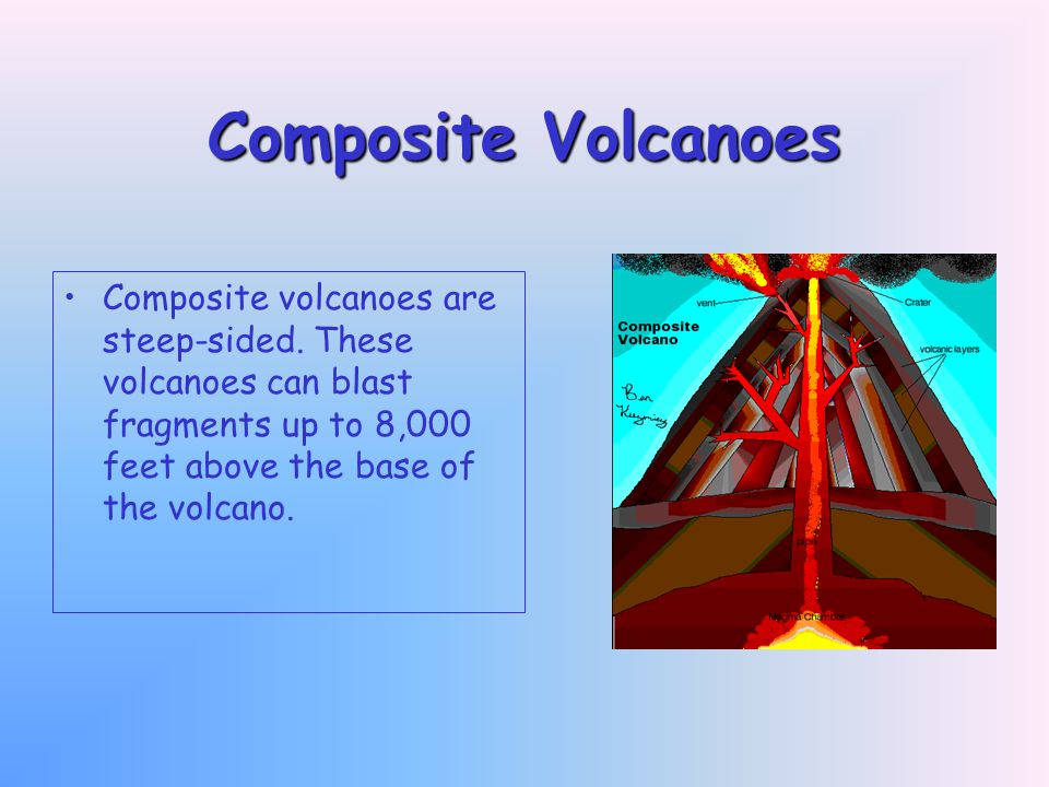 Composite Volcanoes Composite volcanoes are steep-sided.