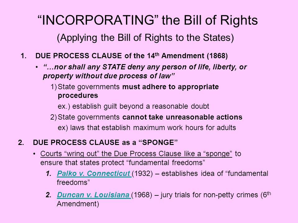 INCORPORATING the Bill of Rights