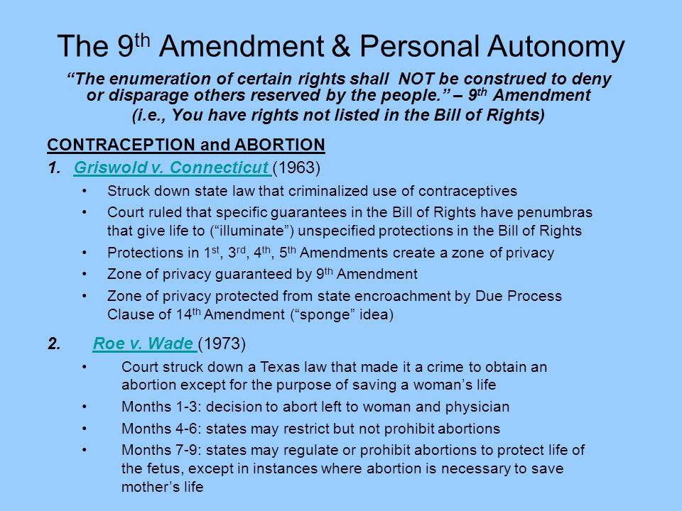 The 9th Amendment & Personal Autonomy