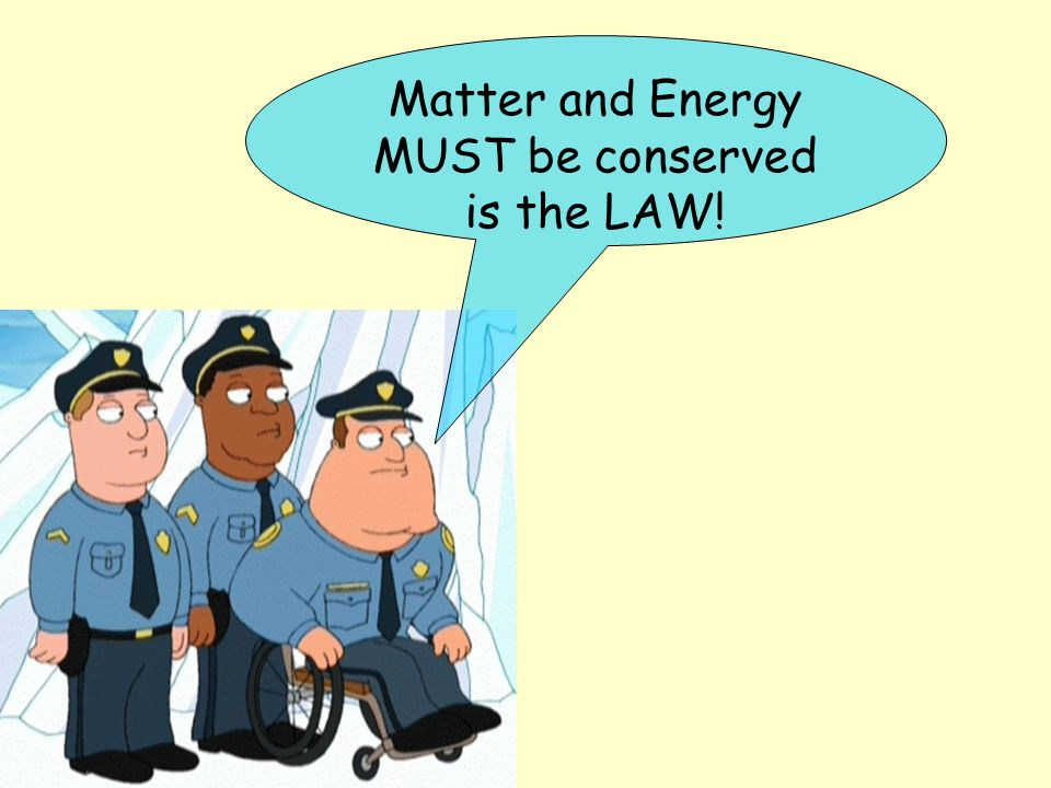 Matter and Energy MUST be conserved is the LAW!