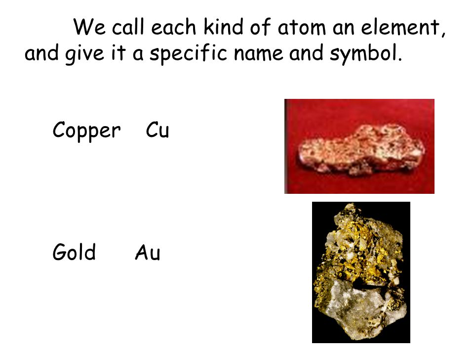 We call each kind of atom an element, and give it a specific name and symbol.