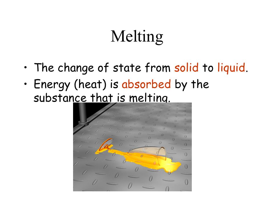 Melting The change of state from solid to liquid.
