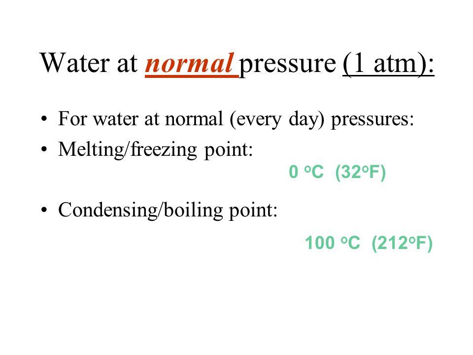 Water at normal pressure (1 atm):