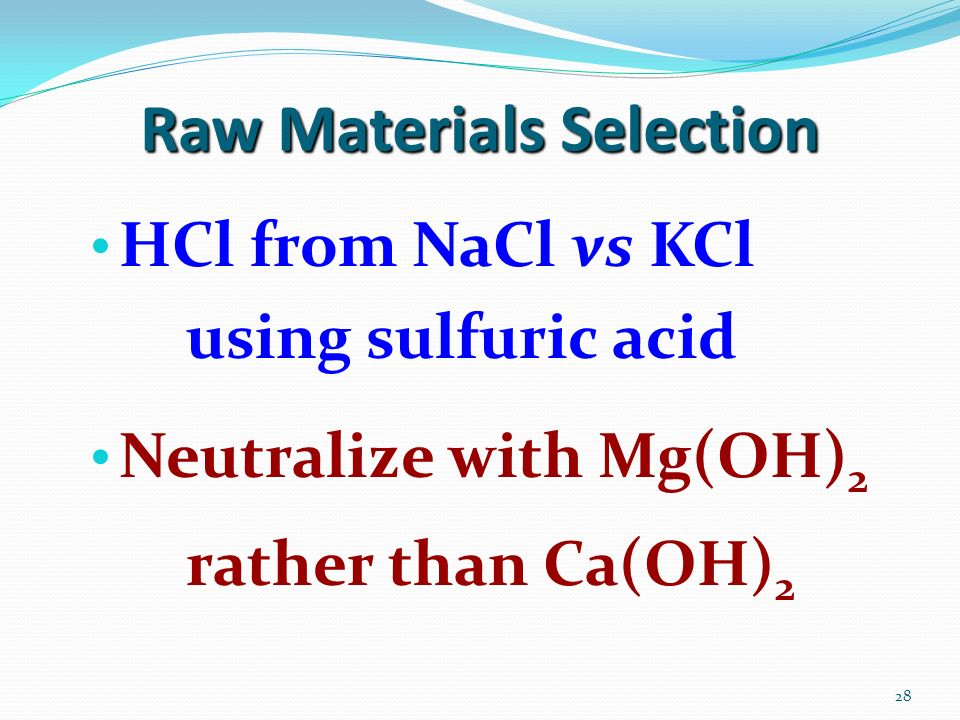 Raw Materials Selection