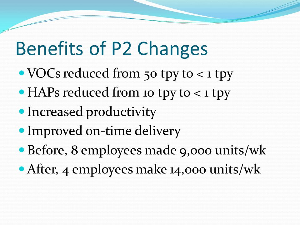 Benefits of P2 Changes VOCs reduced from 50 tpy to < 1 tpy