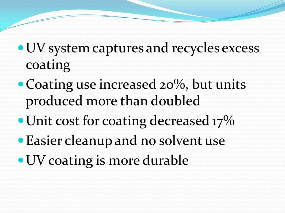 UV system captures and recycles excess coating