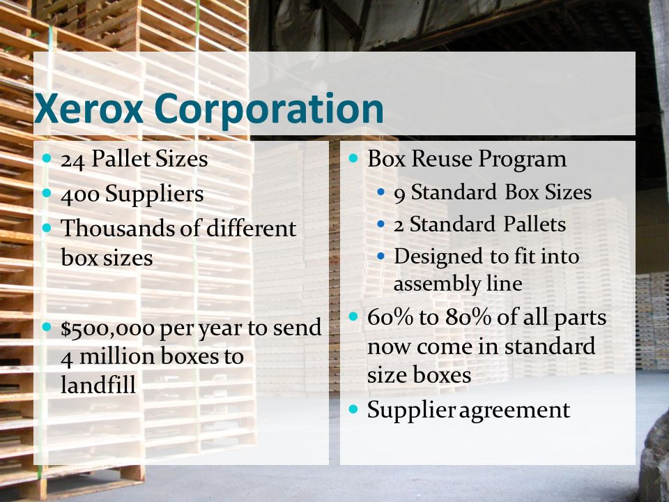 Xerox Corporation 24 Pallet Sizes 400 Suppliers
