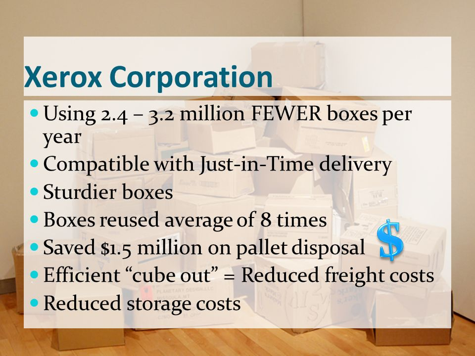 $ Xerox Corporation Using 2.4 – 3.2 million FEWER boxes per year