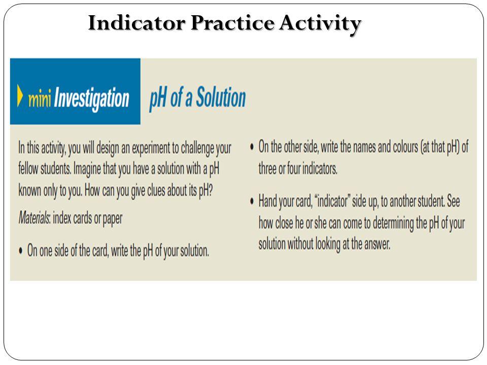 Indicator Practice Activity