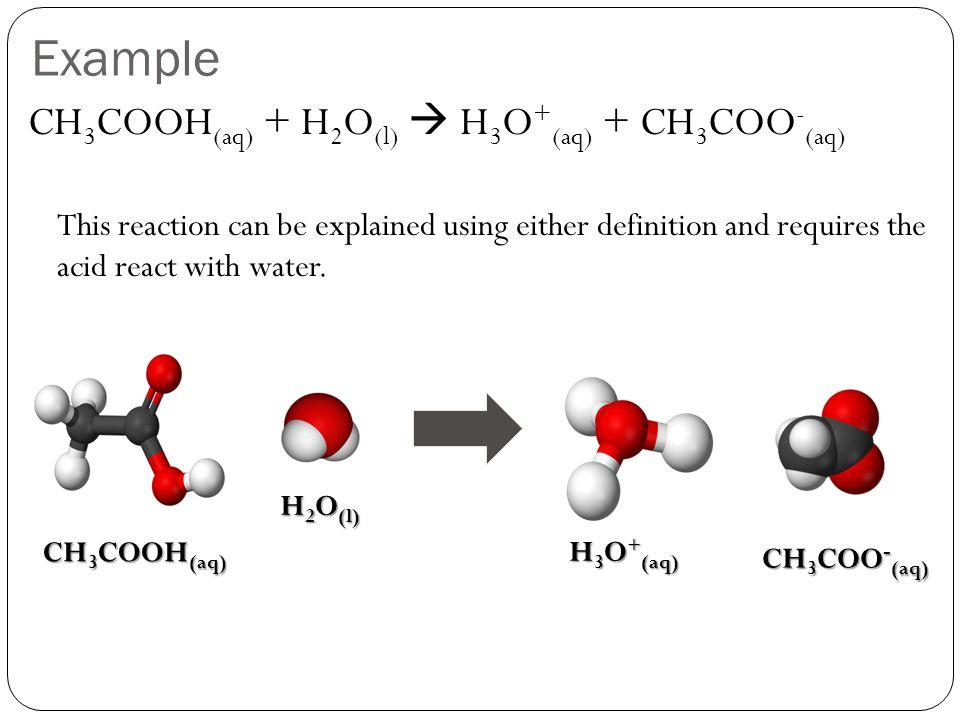 Example CH3COOH(aq) + H2O(l)  H3O+(aq) + CH3COO-(aq)