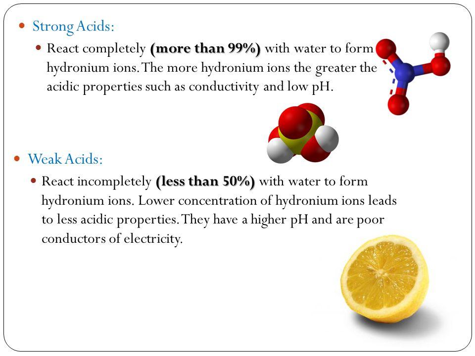 Strong Acids: Weak Acids: