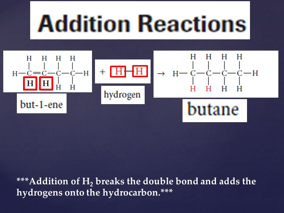 H H ***Addition of H2 breaks the double bond and adds the hydrogens onto the hydrocarbon.***