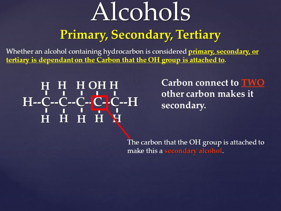 Alcohols Primary, Secondary, Tertiary
