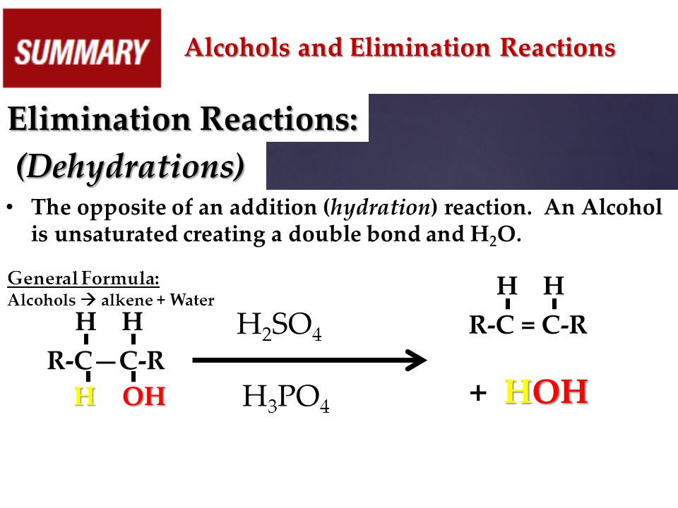 Elimination Reactions: (Dehydrations)